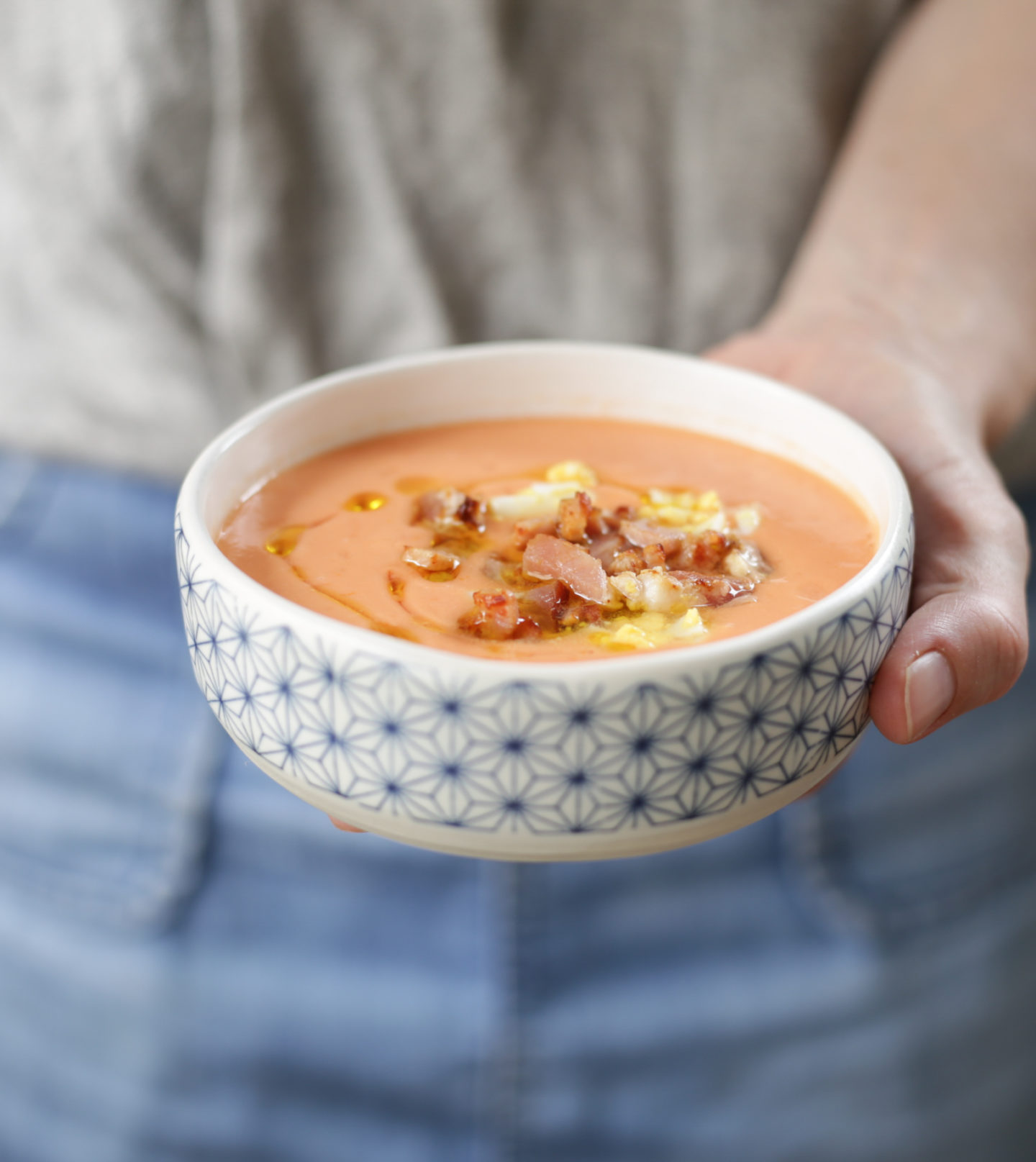 Chilled salmorejo with crispy bacon and egg