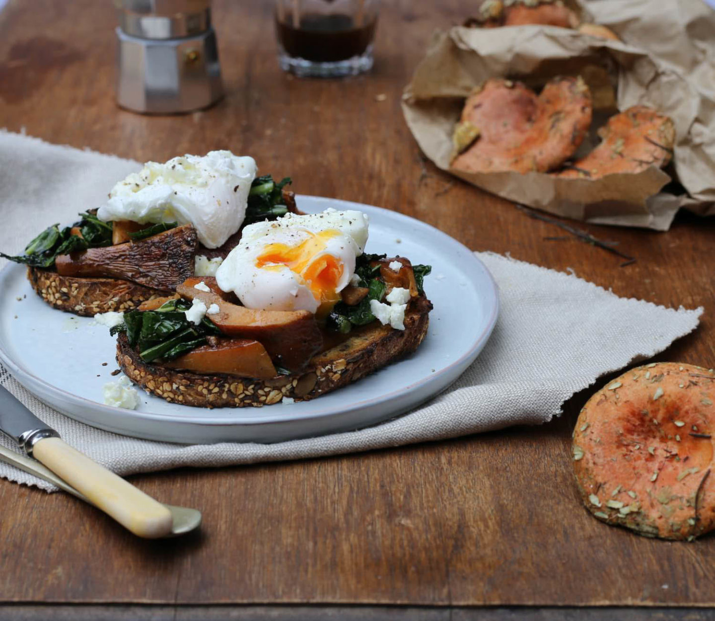 Wild mushrooms and tuscan kale with poached eggs