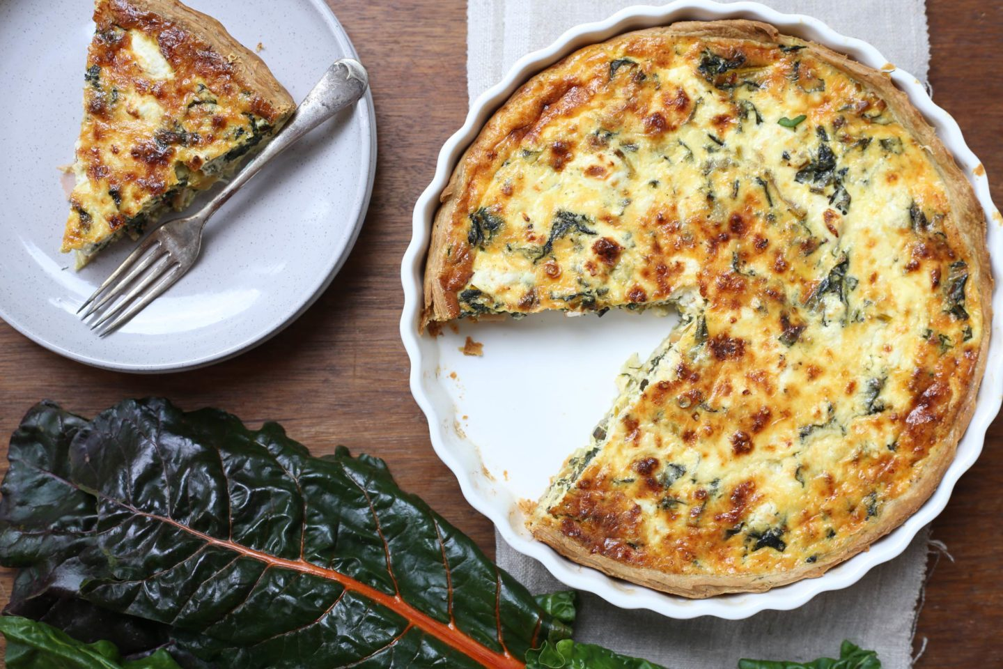 Rainbow chard tart with goats cheese and parmesan