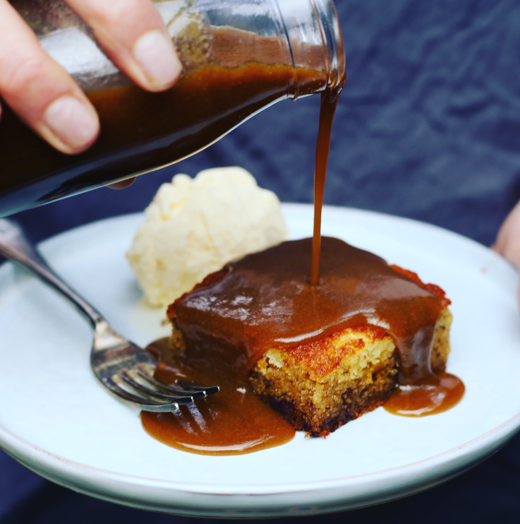 The best sticky date pudding with vanilla ice-cream