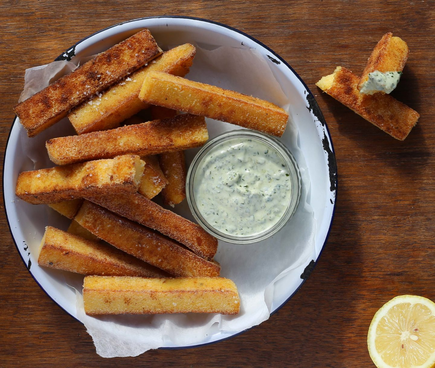 Polenta chips with a herby yoghurt dressing