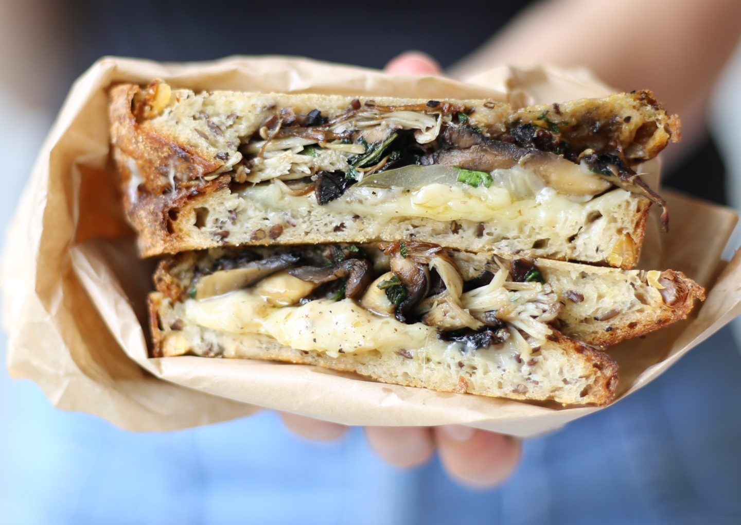 Mixed mushroom and two cheese toastie with pickles